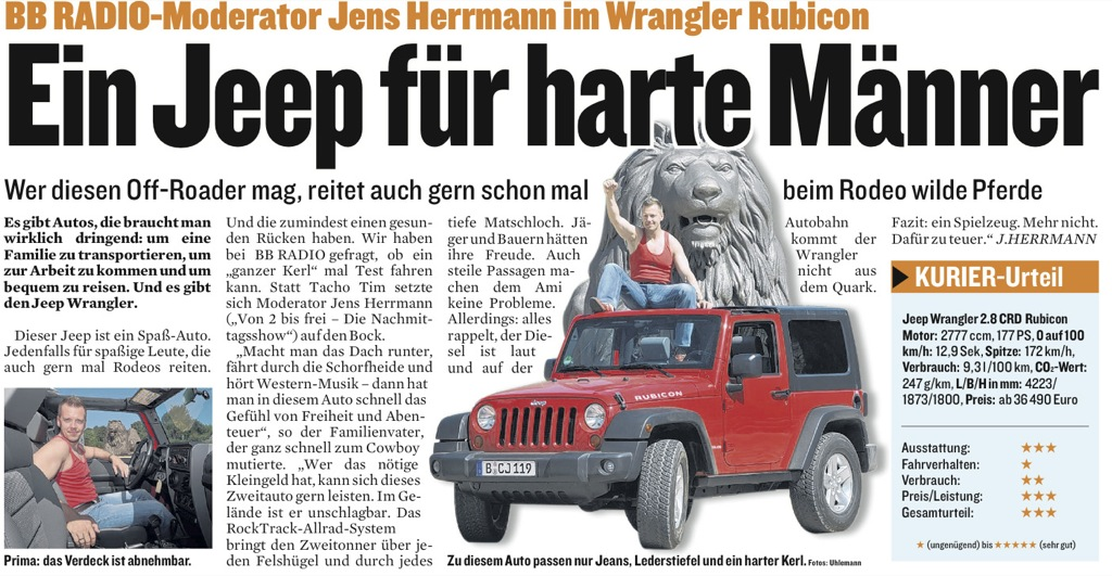 Jens Herrmann als Autotester im Berliner Kurier