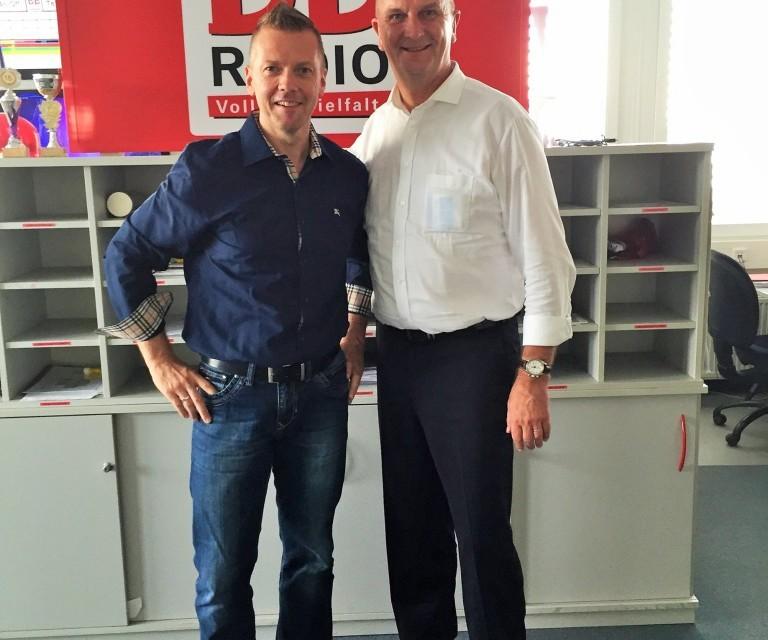 """Brandenburgs Ministerpräsident Dietmar Woidke zum """"Vier Augen Gespräch""""  bei BB RADIO."""