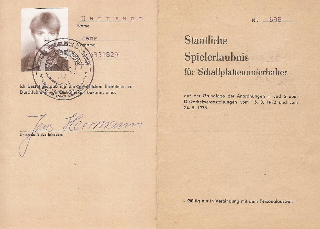 Jens Herrmann - Diskjockey - Staatliche Spielerlaubnis der DDR